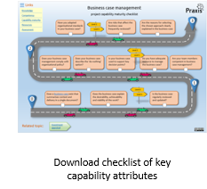 Capability maturity checklist assessment for project business case management