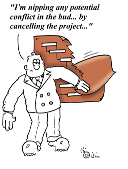 cartoon project manager on conflict management