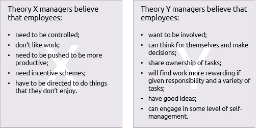 Characteristics of McGregor's theiry X and theory Y